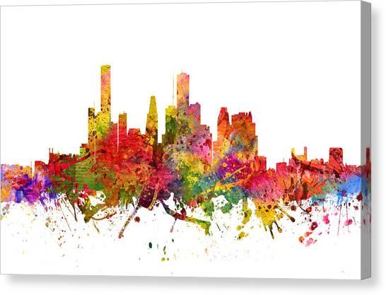 Houston Skyline Canvas Print - Houston Cityscape 08 by Aged Pixel