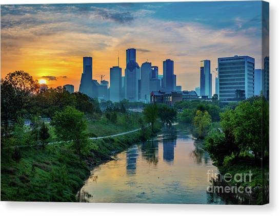 Streetlights Canvas Print - Houston Dawn by Inge Johnsson