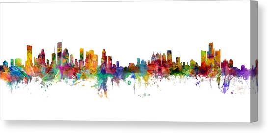Michigan Canvas Print - Houston Detroit Skylines Mashup by Michael Tompsett