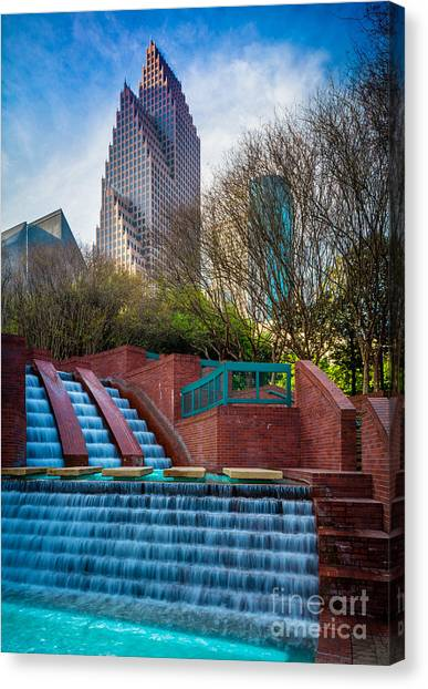 Streetlights Canvas Print - Houston Fountain by Inge Johnsson