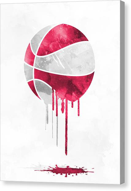 Houston Rockets Canvas Print - Houston Rockets Dripping Water Colors Pixel Art by Joe Hamilton