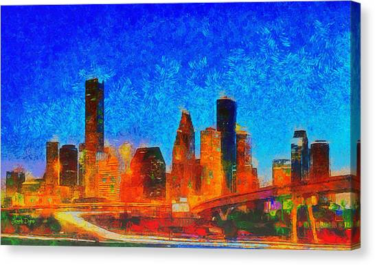 Houston Canvas Print - Houston Skyline 130 - Pa by Leonardo Digenio