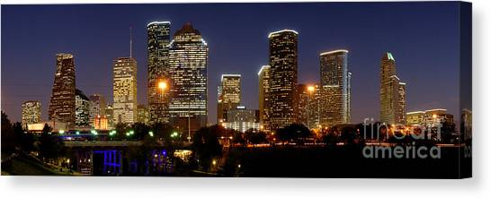 Houston Skyline Canvas Print - Houston Skyline At Night by Jon Holiday