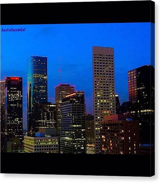 Houston Skyline Canvas Print - #houston #skyline At #night. #lights by Austin Tuxedo Cat