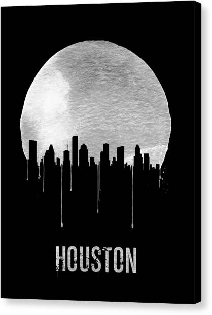 Houston Skyline Canvas Print - Houston Skyline Black by Naxart Studio
