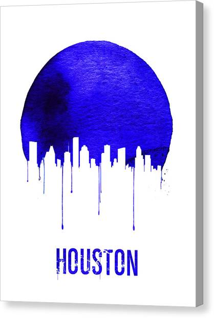 Houston Canvas Print - Houston Skyline Blue by Naxart Studio