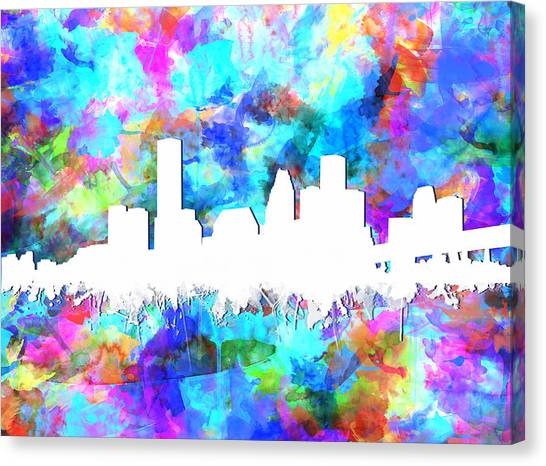 Houston Skyline Canvas Print - Houston Skyline Colorful by Bekim Art