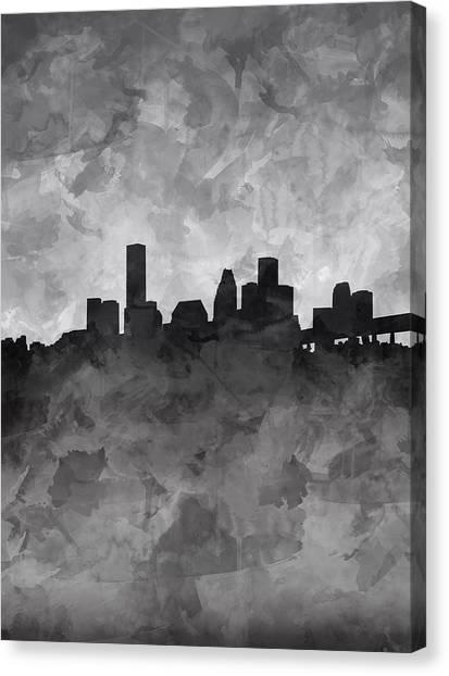 Houston Skyline Canvas Print - Houston Skyline Grunge by Bekim Art