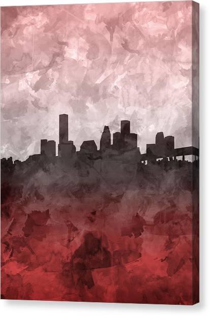 Houston Skyline Canvas Print - Houston Skyline Grunge Red by Bekim Art