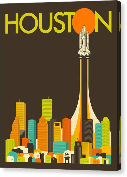 Houston Skyline Canvas Print - Houston Skyline by Jazzberry Blue