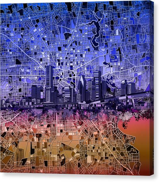 Houston Skyline Canvas Print - Houston Skyline Map 12 by Bekim Art