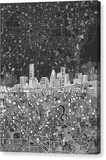 Houston Skyline Canvas Print - Houston Skyline Map Black And White by Bekim Art