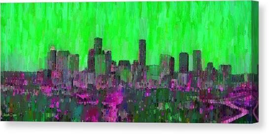 Houston Canvas Print - Houston Skyline Night 54 - Da by Leonardo Digenio