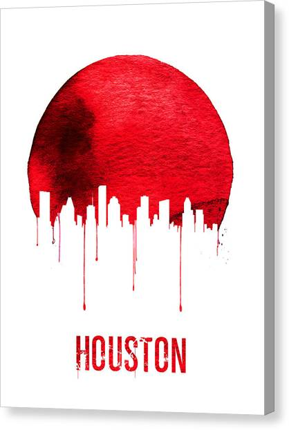 Houston Skyline Canvas Print - Houston Skyline Red by Naxart Studio