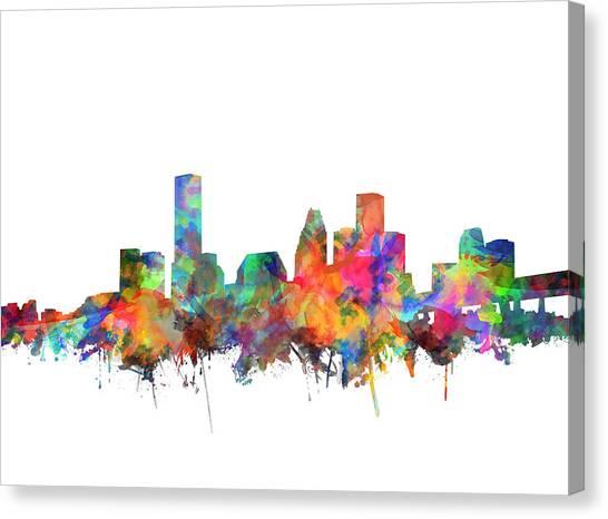 Houston Skyline Canvas Print - Houston Skyline Watercolor 6 by Bekim Art