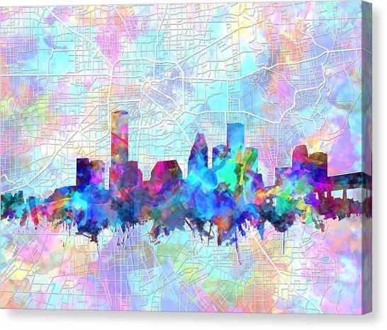 Houston Skyline Canvas Print - Houston Skyline Watercolor 7 by Bekim Art