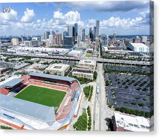 Houston Dynamo Canvas Print - Houston Skyline With Sports Facilities. by DMValdez Photography