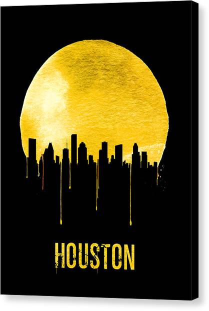 Houston Canvas Print - Houston Skyline Yellow by Naxart Studio