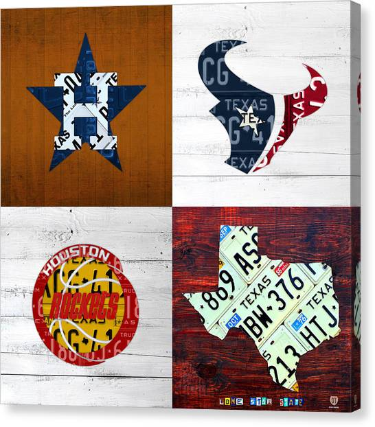 Houston Astros Canvas Print - Houston Sports Fan Recycled Vintage Texas License Plate Art Astros Texans Rockets And State Map by Design Turnpike