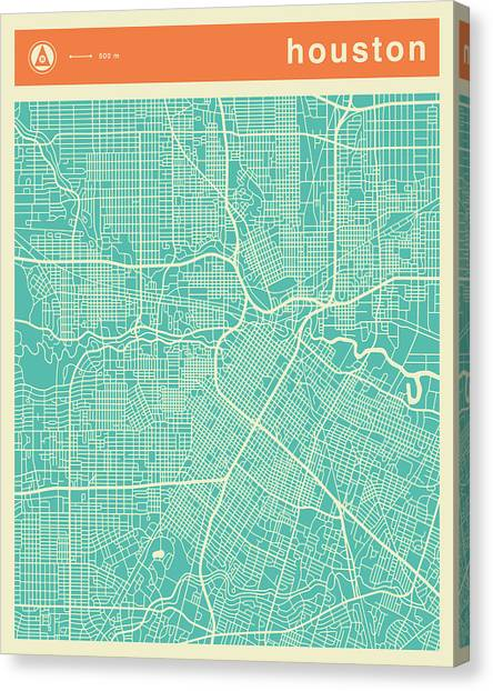 Houston Canvas Print - Houston Street Map by Jazzberry Blue