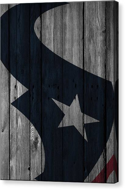 Houston Texans Canvas Print - Houston Texans Wood Fence by Joe Hamilton