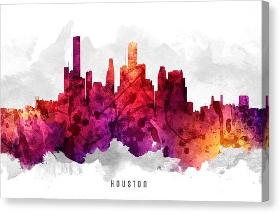 Houston Skyline Canvas Print - Houston Texas Cityscape 14 by Aged Pixel