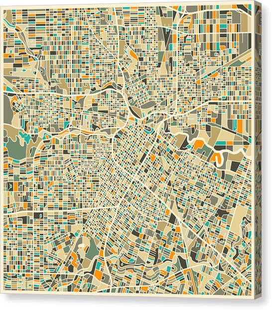 Canadian Artists Canvas Print - Houston Texas Map by Jazzberry Blue
