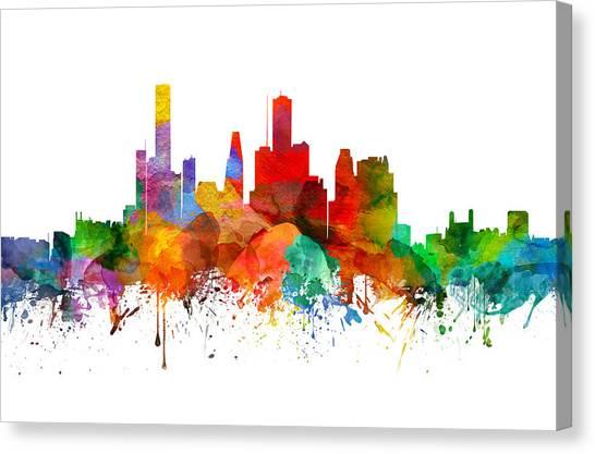 Houston Skyline Canvas Print - Houston Texas Skyline 21 by Aged Pixel