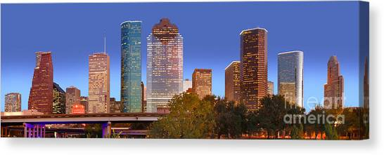 City Sunsets Canvas Print - Houston Texas Skyline At Dusk by Jon Holiday