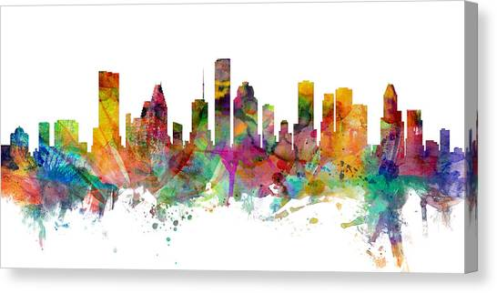 Houston Skyline Canvas Print - Houston Texas Skyline Panoramic by Michael Tompsett