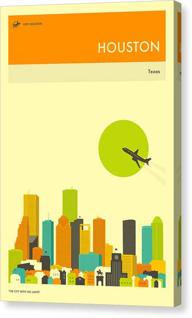 Houston Skyline Canvas Print - Houston Travel Poster by Jazzberry Blue