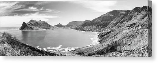 Canvas Print featuring the photograph Hout Bay Panorama Black And White by Tim Hester