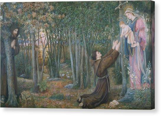 Pre-raphaelite Art Canvas Print - How The Virgin Came To Brother Conrad In Offia And Laid Her Son In His Arms by Marie Spartali Stillman