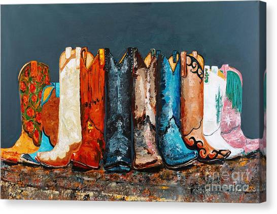 Cowboy Boots Canvas Print - How The West Was Really Won by Frances Marino