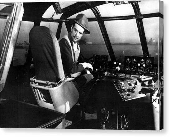 Cockpits Canvas Print - Howard Hughes, At The Controls by Everett