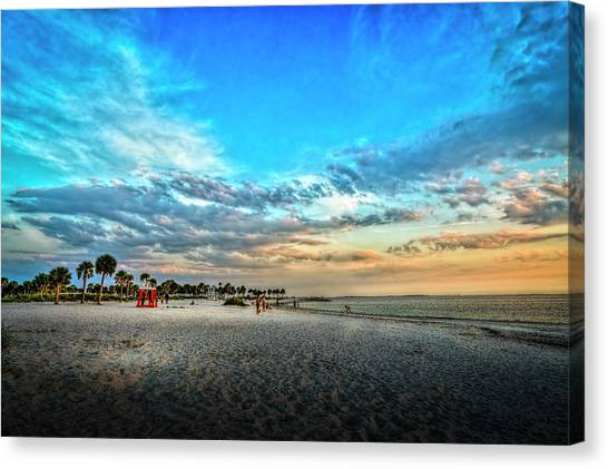 Palm Trees Sunsets Canvas Print - Howard Park Beach by Marvin Spates