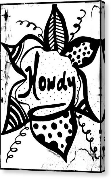 Canvas Print featuring the drawing Howdy by Rachel Maynard
