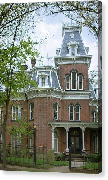 University Of Akron Canvas Print - Hower House In Akron, Ohio by Rosette Doyle