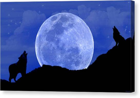 Howl At The Moon Canvas Print by Evelyn Patrick