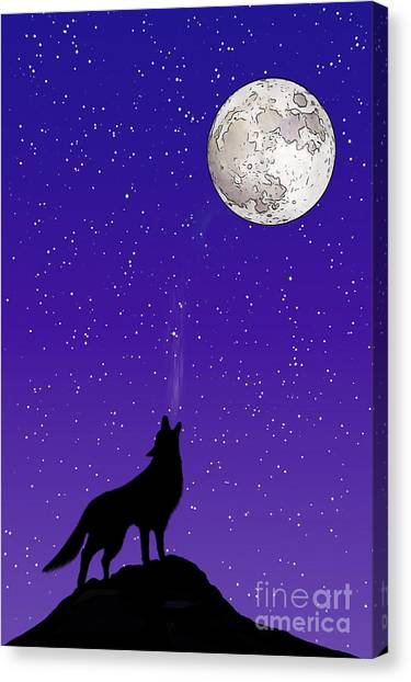 Wolf Moon Canvas Print - Howl At The Moon by John Edwards