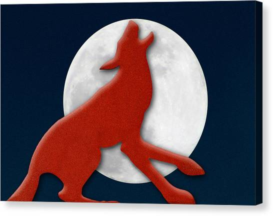 Wolf Moon Canvas Print - Howling At The Moon by Paul Wear