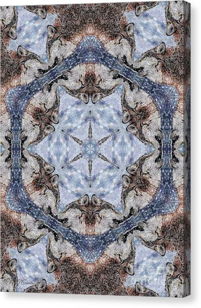 Canvas Print - Howling Gray Wolf Kaleidoscope by J McCombie
