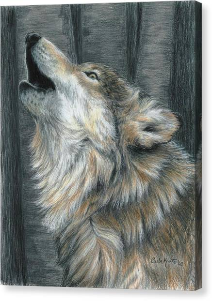 Howling Wolf Canvas Print by Carla Kurt