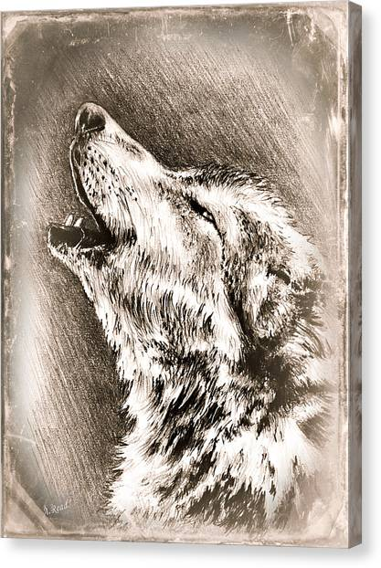 Howling Wolves Canvas Print - Howling Wolf Edit 2 by Andrew Read
