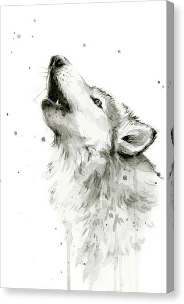 Watercolor Canvas Print - Howling Wolf Watercolor by Olga Shvartsur
