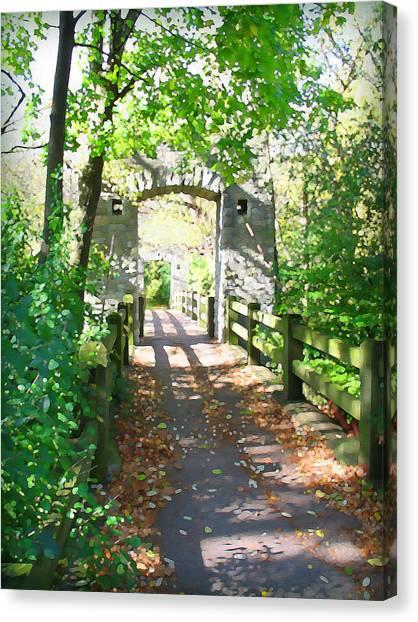Hoyt Park Footbridge Vertical Canvas Print
