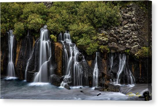 Canvas Print featuring the photograph Hraunfossar In The Gloom by Rikk Flohr