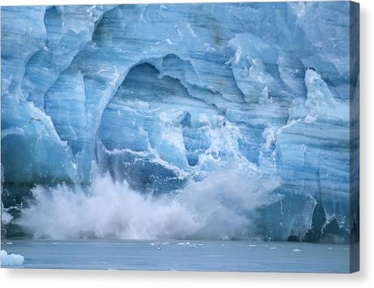 Glacier Bay Canvas Print - Hubbard Glacier Calving Chunks Of Ice by Michael Melford