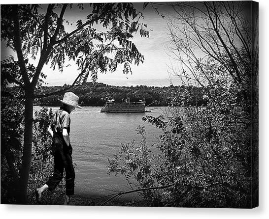 Huck Finn Type Walking On River  Canvas Print