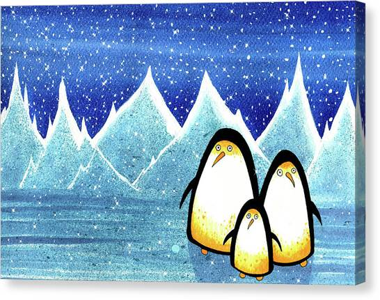 Penguins Canvas Print - Huddle  by Andrew Hitchen